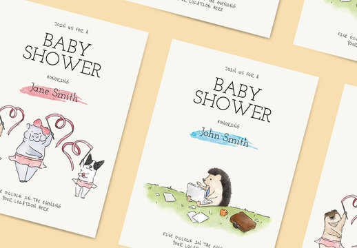 Baby Shower Invitation Card Layout With Animals