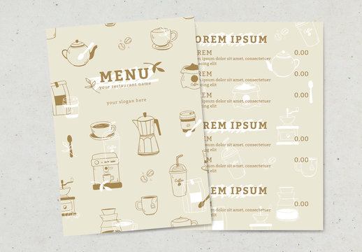 Coffee Shop Menu Layout with Illustrative Elements