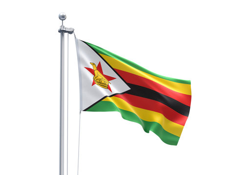 3D Rendering of Zimbabwe Flag is Waving in the Sky - 3d illustration