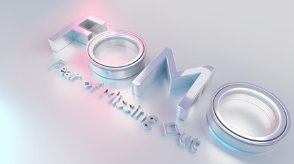 Fomo word as 3D text or logo concept placed on a white surface. 3D rendering – Ilustration. Fomo word mean fear of missing out something. One of the most popular word popular among stock brokers