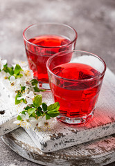 Glasses of healthy cherry juice