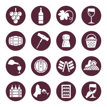 Wine making vector icon set