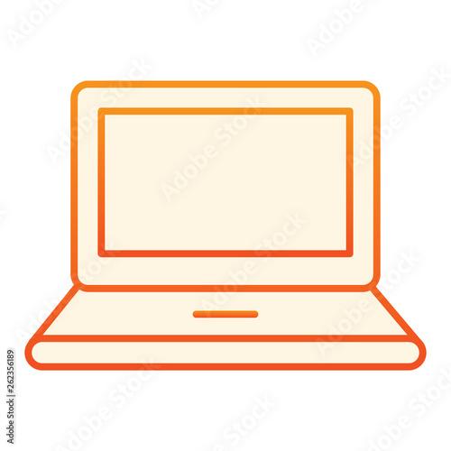 Computer flat icon  Laptop orange icons in trendy flat style