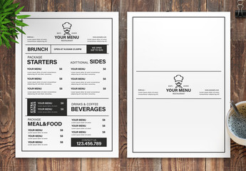 Restaurant Menu Layout with Black and White Accents