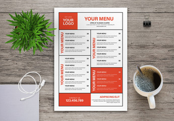 Restaurant Menu Layout with Red and Black Accents
