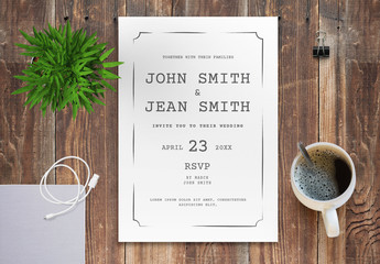 Wedding Invitation Layout with Gray Accents