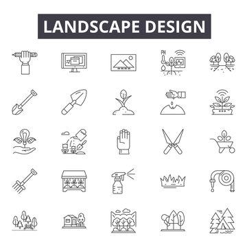 Landscape design line icons, signs set, vector. Landscape design outline concept illustration: delandscape,tree,plant,nature