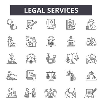 Legal services line icons, signs set, vector. Legal services outline concept illustration: legal,law,service,business,lawyer,justice,attorney,court