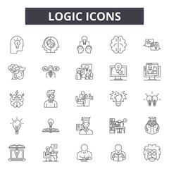 Logic line icons, signs set, vector. Logic outline concept illustration: logic,business,detechnology,concept