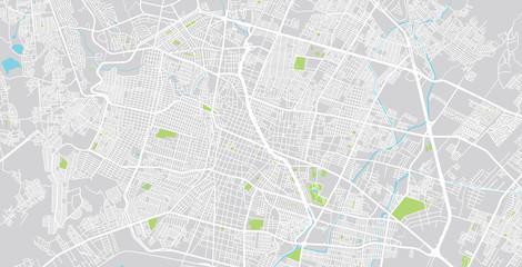Urban vector city map of Leon, Mexico
