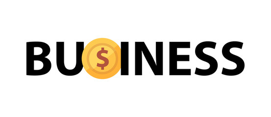 Vector logo with phrase - Business and golden coin