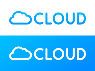 Label of Cloud deposit system in blue and white color