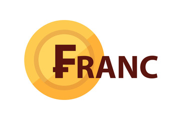 Franc and golden coin with symbol of currency, Vector illustration