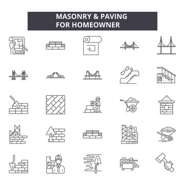 Masonry line icons, signs set, vector. Masonry outline concept illustration: masonry,construction,brick,work,cement,wall,design