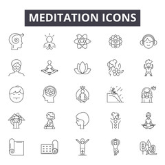 Meditation line icons, signs set, vector. Meditation outline concept illustration: yoga,meditation,health,relaxation,zen,wellness,relax