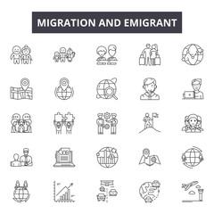 Migration emigrant line icons, signs set, vector. Migration emigrant outline concept illustration: migration,people,immigration,refugee,border,migrant,travel,emigration,immigrant