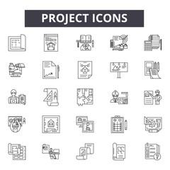 Project line icons, signs set, vector. Project outline concept illustration: project,deconcept,business,plan,line