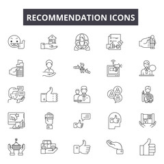 Recommendation line icons, signs set, vector. Recommendation outline concept illustration: button,deweb,feedback,isolated