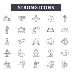 Fototapeta Strong line icons, signs set, vector. Strong outline concept illustration: strong,strength,arm,isolated,fitness obraz