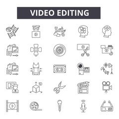 Video editing line icons, signs set, vector. Video editing outline concept illustration: video,camera,film,movie,design