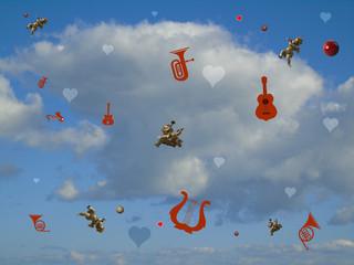 Cielo nuvoloso con oggetti putti e strumenti musicali