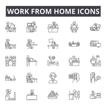 Work from home line icons, signs set, vector. Work from home outline concept illustration: home,house,work,deconcept