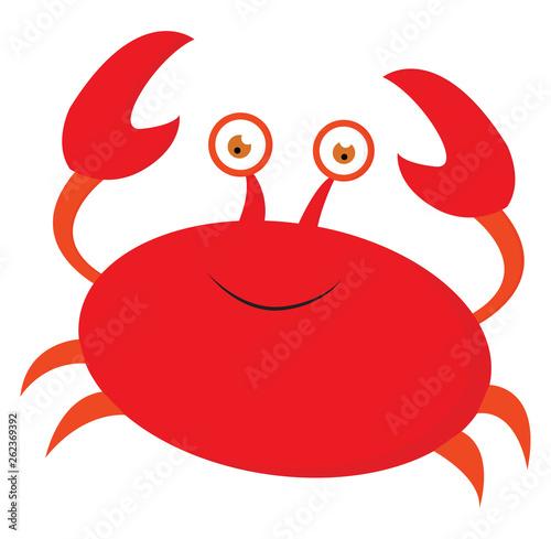 Emoji of a smiling orange crab/Cartoon orange crab, vector