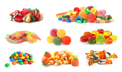Set of different tasty candies on white background