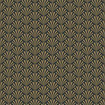Art Deco Seamless Pattern - Repeating pattern design with art deco motif in anthracite and vintage gold