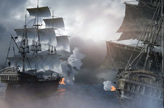 sea battle with a sailing pirate ship 3d,render