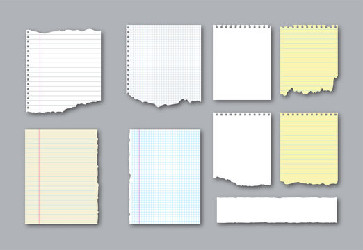 Set of different notebook torn pages and pieces of ripped paper for notes. Vector illustration