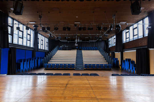 School theatre - with collapsible tiered seating which is common in schools