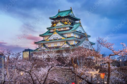 Wall mural Osaka Castle and Cherry blossom in spring. Sakura seasons in Osaka, Japan.