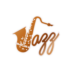 jazz day label isolated icon