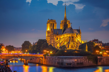 Fotomurales - Notre Dame de Paris at night, France