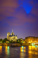 Wall Mural - Notre Dame de Paris at night, France