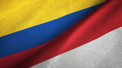 Colombia and Indonesia two flags textile cloth, fabric texture