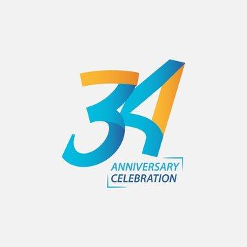 34 Year Anniversary Celebration Vector Template Design Illustration