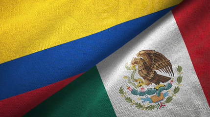 Colombia and Mexico two flags textile cloth, fabric texture
