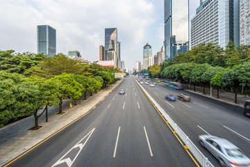 busy urban traffic of shenzhen downtown district in china