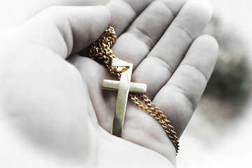 Gold Jesus Christ Cross In Palm Of Hand With White Frame High Quality