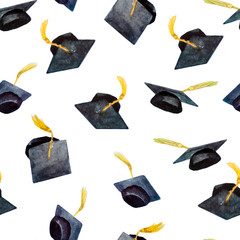 seamless pattern of watercolor elements for graduation, hand-drawn graduation caps