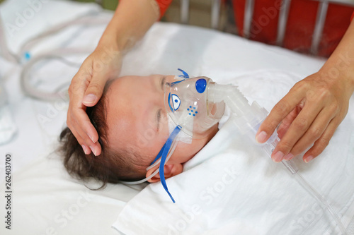 Baby has asthma and need nebulizations, Sick boy inhalation therapy