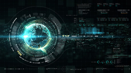 Wall Mural - Futuristic motion graphic user interface head up display screen with Holographic Earth and digital data telemetry information display for digital background computer desktop display screen