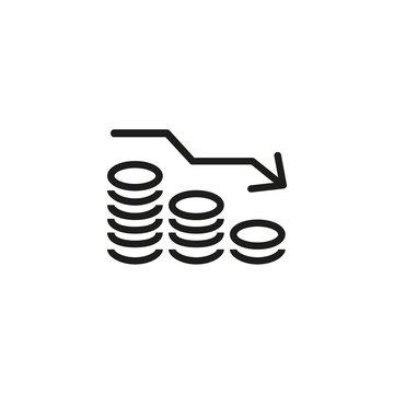 Money reduction line icon