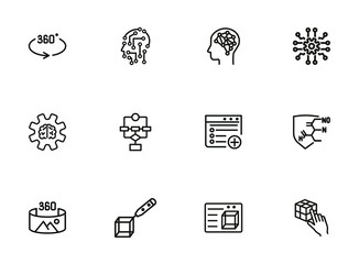Modern technologies line icon set