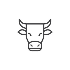 Horned cow line icon. linear style sign for mobile concept and web design. Cow outline vector icon. Dairy product symbol, logo illustration. Pixel perfect vector graphics