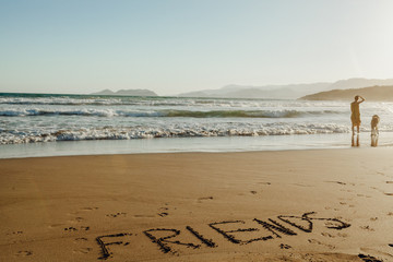 Handwriting Friends on Sand Summer Background. Happy Dog and Girl Symbol on Holiday Tropic Island Scene. Shape on Ocean Coast with Seascape and Sunlight. Object on Beach Landscape Waves