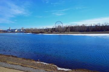 Cityscape. Spring. Ferris wheel on the banks of the Angara River, Irkutsk. Mallard duck migratory rests before the flight.