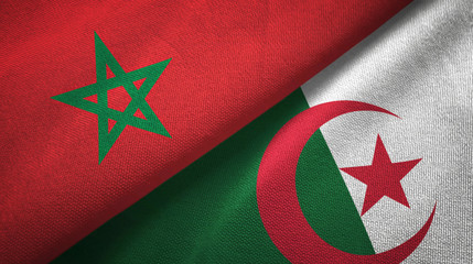 Morocco and Algeria two flags textile cloth, fabric texture